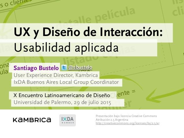 Diseño Centrado en el Usuario  UX  IxD  Usabilidad aplicada